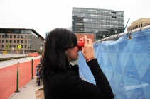 "Denver Territory Manager, Natalie, checking out what is yet to come through a ""ViewMaster"""