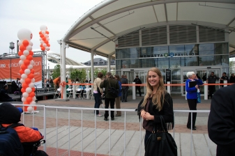 Marketing Manager, Jessica, waiting for the ribbon to be cut!